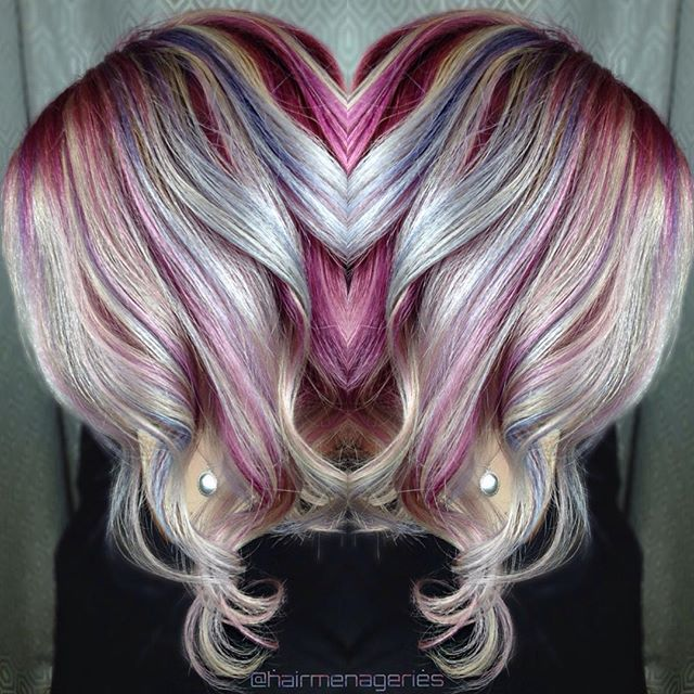 Silver Hair With Raspberry Pink Base And Thin Strands Of
