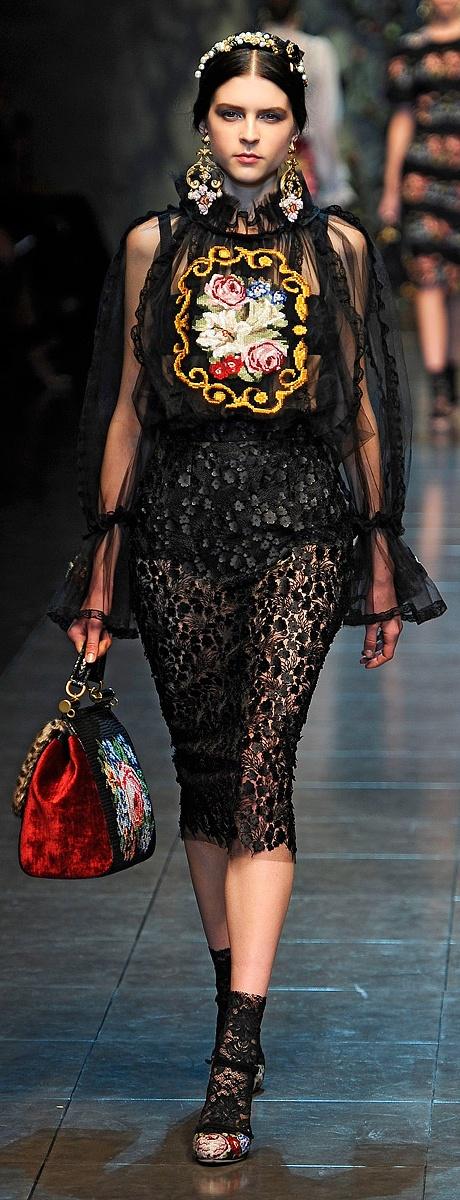 Dolce & Gabbana Fall 2012 ~ Minus the skirt & shoes. Loving the sheer blouse, velvet purse & earrings <3