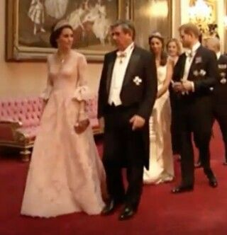 Catherine Duchess of Cambridge at the State banquet in honor of the Spanish State Visit. Prince Harry in the back. July 12 2017.
