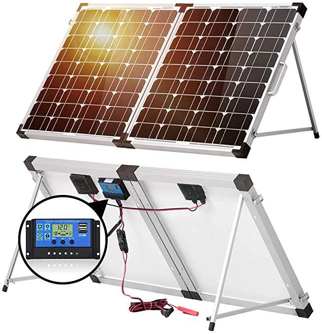 Dokio 100w 50x2 12v Monocrystalline Foldable Solar Panel Portable Folding Solar Panel Suitcase With Charge Controlle Solar Panels Portable Solar Panels Solar