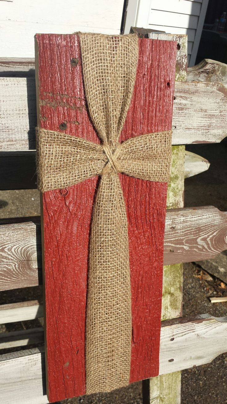 barn siding with burlap and twine cross wall plaque