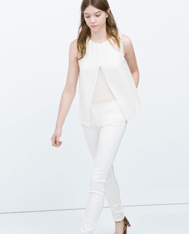 Image 3 of DOUBLE LAYER PLEATED TOP from Zara