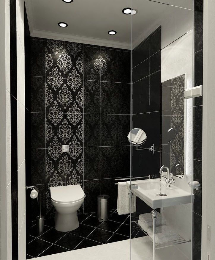 27 Black Damask Bathroom Tiles Ideas And Pictures Modern Bathroom Tile Tile Bathroom White Bathroom Decor