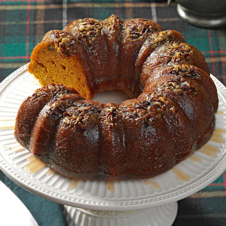 Rum-Glazed Pumpkin Cake Recipe -For years, my co-workers were taste testers as I worked on a recipe for pumpkin cake. This version wins, hands down. —Gilda Smith, Santee, California