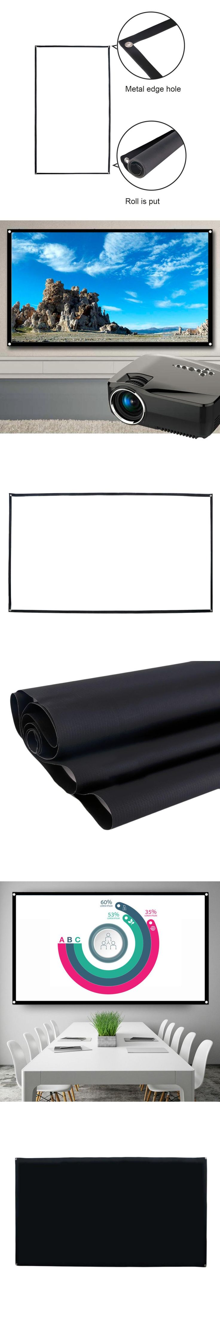 72 inch 16:9 Portable White Projector Screen Fabric Material Folded Projection Screen High-definition Curtain Hot Sale