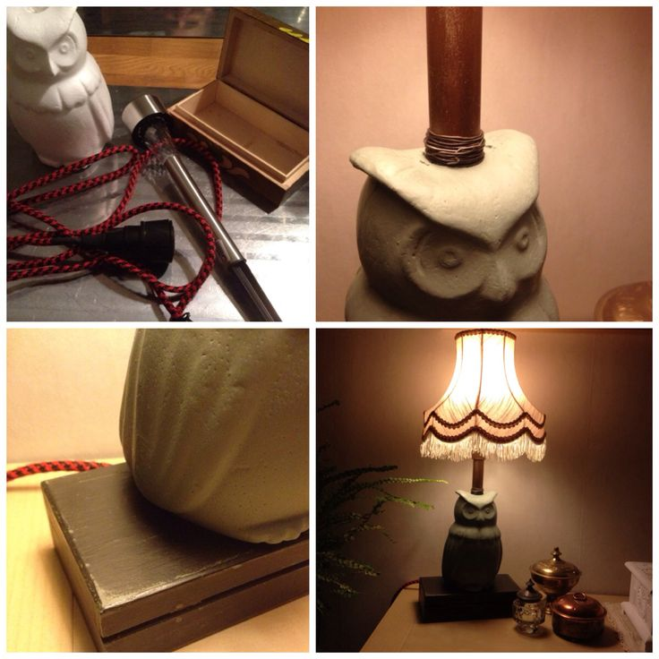 A #lamp made out of fleemarket findings, a styrofoam #owl and some Chalk Paint.