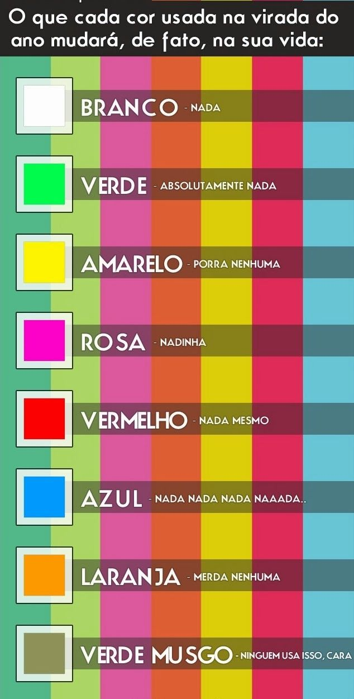 O que cada cor usada na virada do ano mudará, de fato, na sua vida - Mafia do Humor