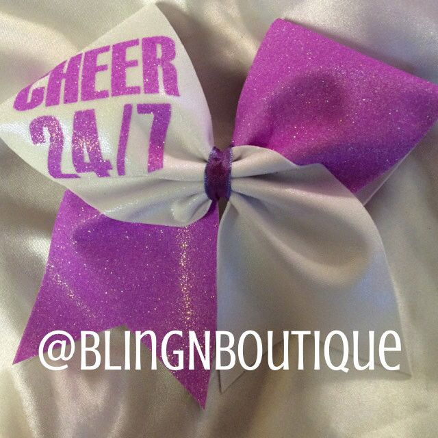 White mystique tic toc with your choice of glitter color. Cheer 24/7 will be on the opposite loop in the same glitter with a coordinating center. BlingNBoutique bows are handmade to order. Unless othe