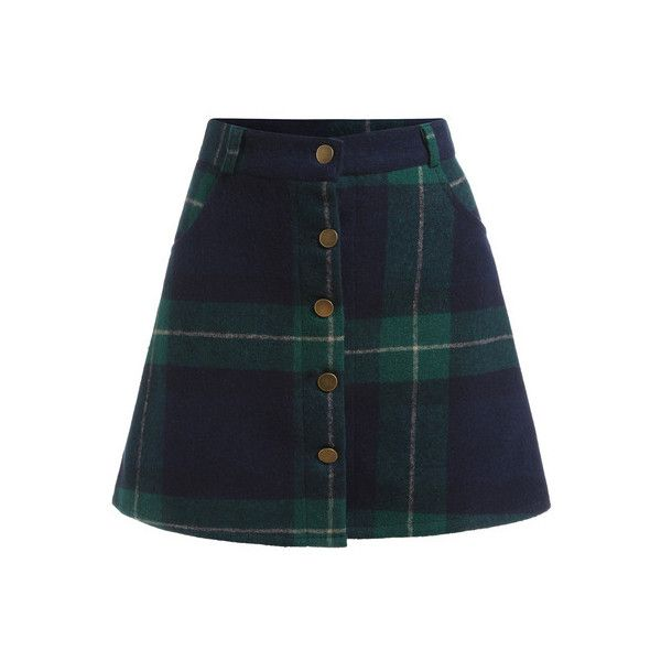 SheIn(sheinside) Green Blue Plaid Buttons Skirt (£10) ❤ liked on Polyvore…