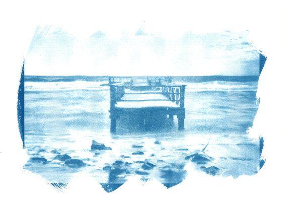 Cyanotype Blue Print Deco art, Beach and sea #cyanotype #print #art #artdeco #walldeco #cottagedeco #italy #madeinitaly #sea #beach #florence