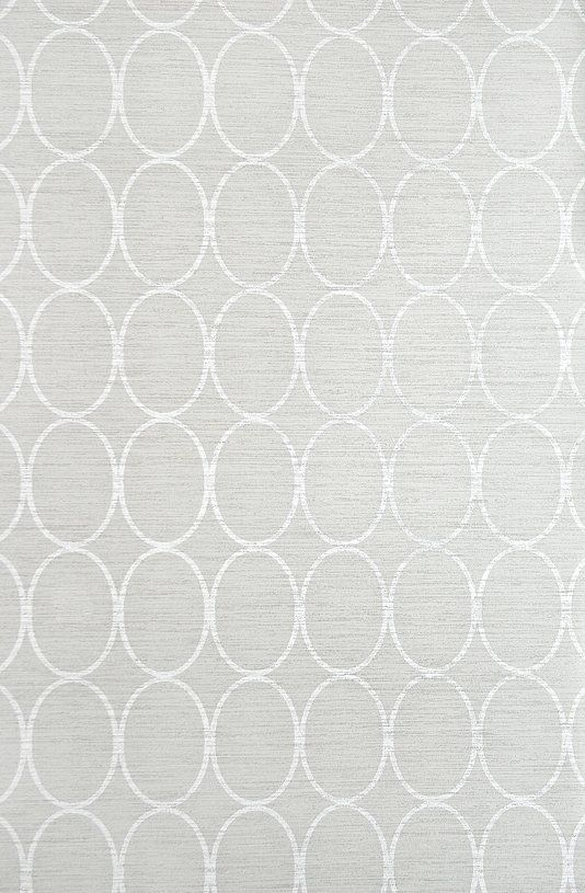 Sonoma Wallpaper Light Grey wallpaper with geometric oval design in White.