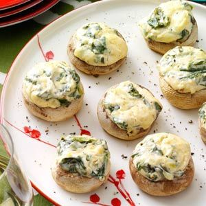 Spinach Dip-Stuffed Mushrooms Recipe from Taste of Home -- shared by Ashley Pierce of Brantford, Ontario