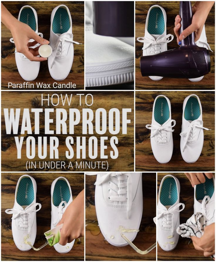 DIY How to make your shoes waterproof in under a minute! #hack #cleaning #shoes…