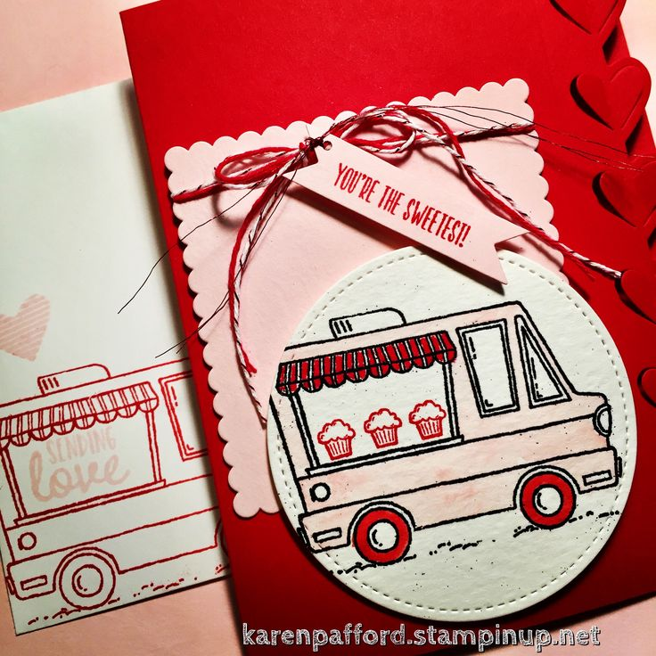 Tasty Trucks food truck stamps make the cutest Valentine card! Earn this FREE set with a $50 purchase during Sale-A-Bration! #stampinup #tastytrucks #foodtrucks #valentinesday #valentine #cards #watercoloring #saleabration2017 #kmpstampstudio