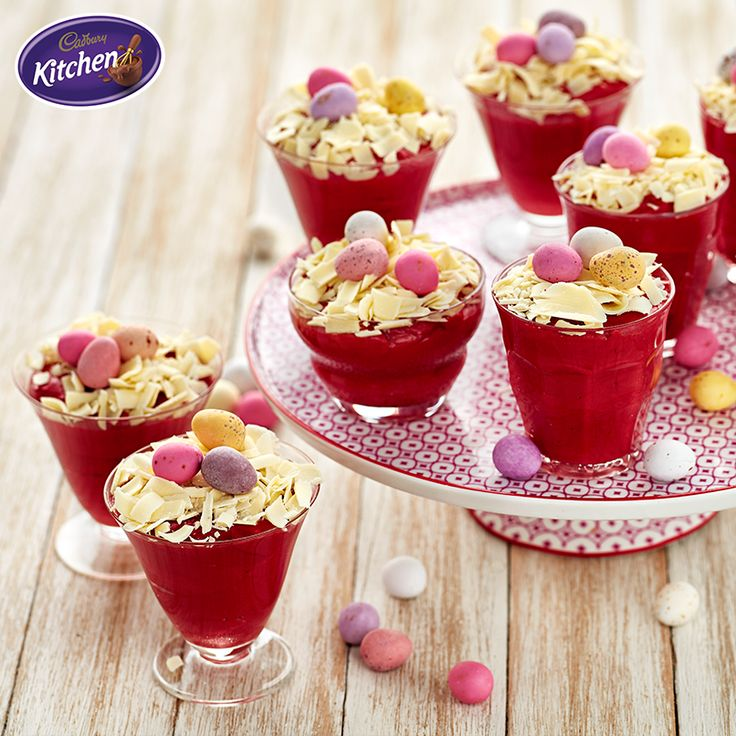 Wow your friends and family with these glorious Red Velvet #Mousse topped with Mini Eggs - a decadent addition to #Easter dinner that will fly off of the table.  #CADBURY #Cadburyrecipes #makeitdelicious #chocolate #Easterdessert #redvelvet #dessert #chocolatemousse #redvelvet