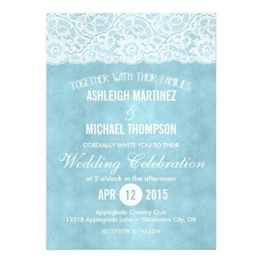 "Ice Blue Lace Wedding Invitation 5"" X 7"" Invitation Card"