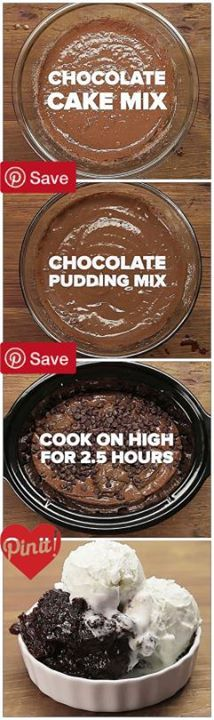Chocolate Lava Cake/ I like the comment about using fudge icing dropped by large spoonsful instead of the pudding.
