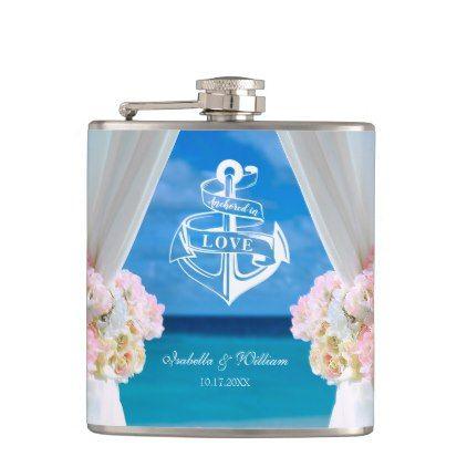 Modern Floral Blue Ocean Beach Wedding Flask - romantic wedding love couple marriage wedding preparations