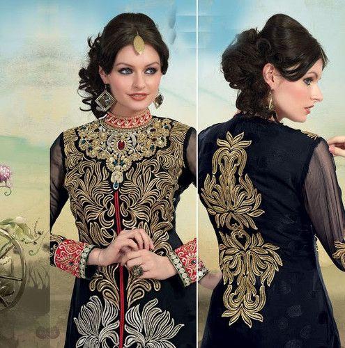 Indian Bollywood Pakistani Anarkali Designer Salwar Kameez Wedding Churidar 6406 | eBay...look at the detail!