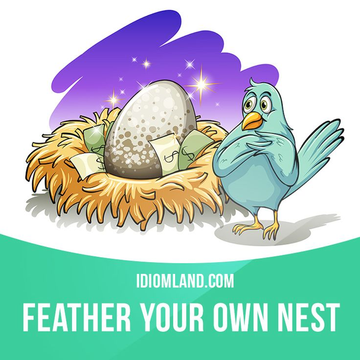 """""""Feather your own nest"""" means """"to use your position or your job to get a lot of money for yourself"""". Example: While the boss feathered his own nest, his company was firing employees by the hundreds."""