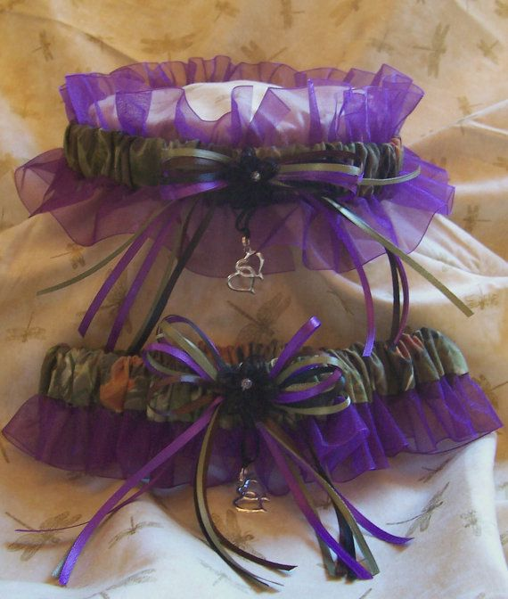 Realtree camo and Purple wedding garter set by kits257 on Etsy, $19.99