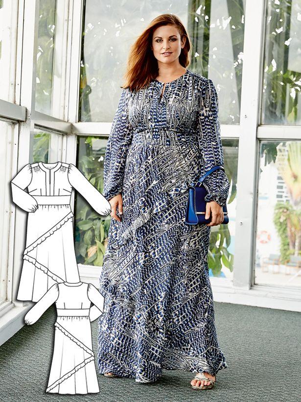 Long Sleeve Maxi Dress (Plus Size) 04/2016 #burdastyle #sewing #pattern #diy #sew