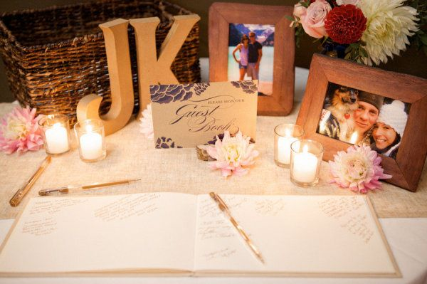 Blank page Wedding Guest Book - love the table decor!