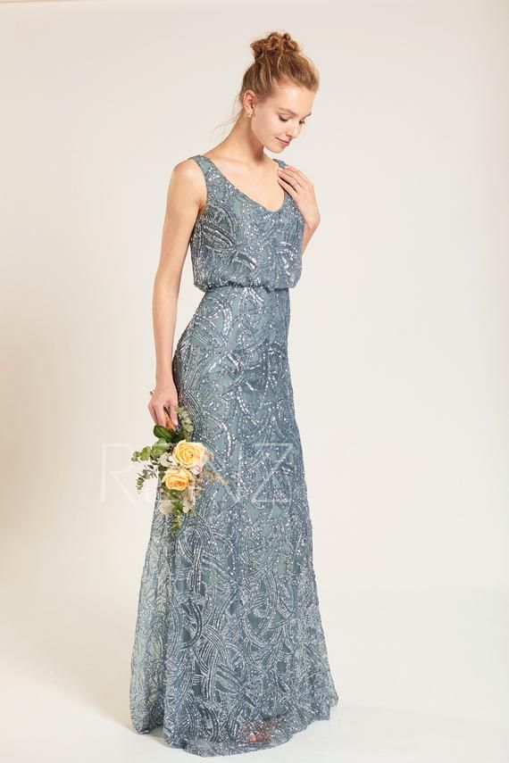 6db53651088 Party Dress Dusty Blue Sequin Bridesmaid Dress