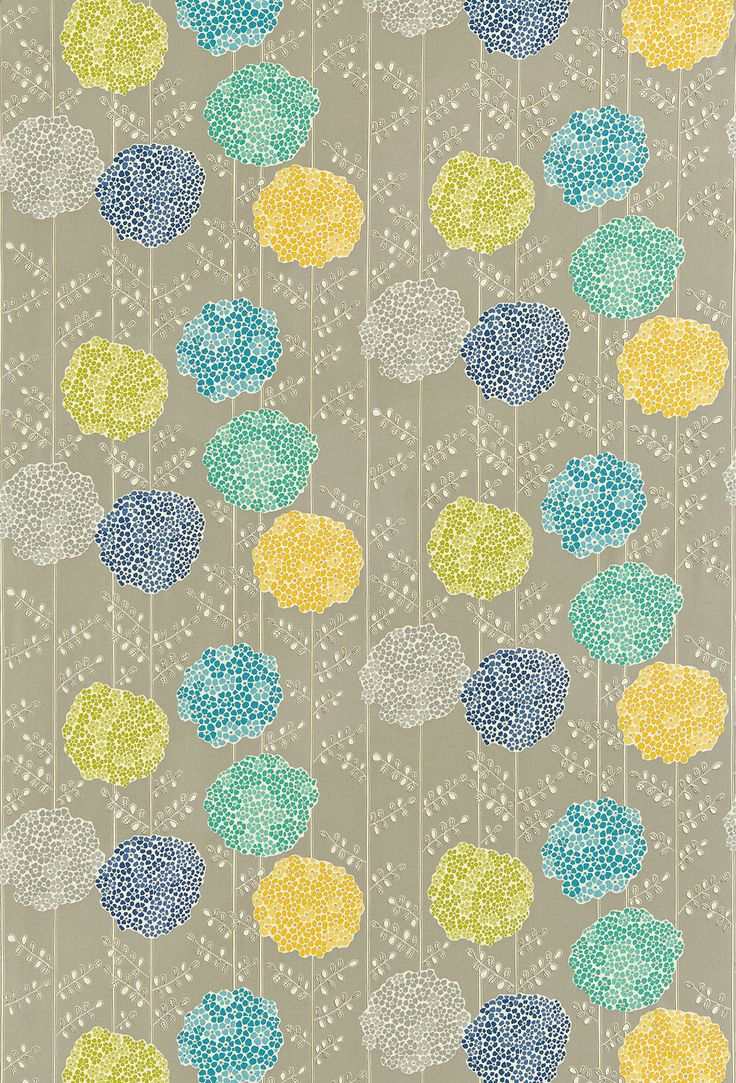 Orsina (120123) - Harlequin Fabrics - Large pompom flower heads with dainty stems and foliage - shown in the Stone, Sapphire, Aqua, Ochre, Lime colourway. Please request sample for true colour match.