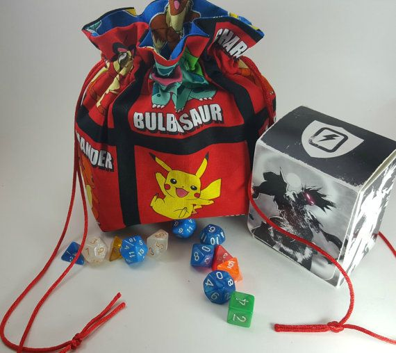 Pokemon Dice Bag, Tabletop Gaming Bag, Gamer Pouch, TCG Bag, Pokemon Go Bag…