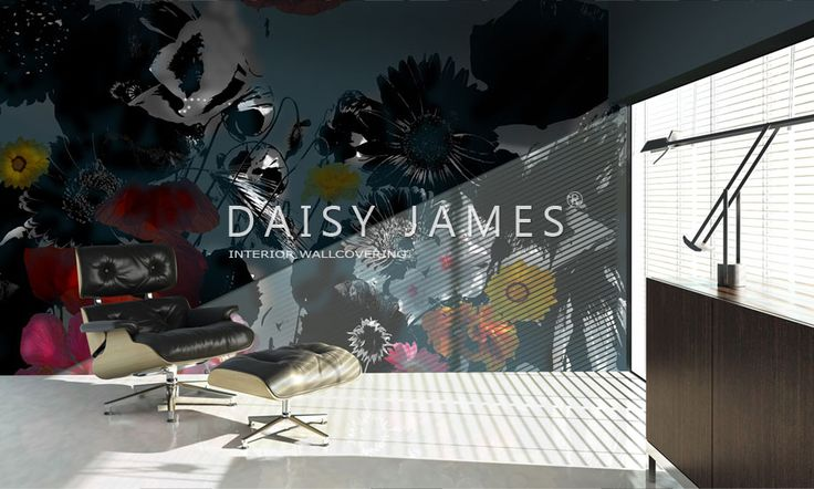 "DAISY JAMES interior wallcover  ""The Maroon Flower"""