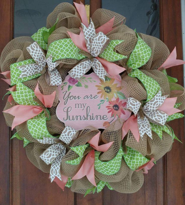 Burlap Fabric Mesh You Are My Sunshine Wreath - Everyday Wreath - Spring Wreath - Burlap Wreath by GreeneBeanWreaths on Etsy