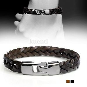 NEW Vintage MEN'S Braided Leather Stainless Steel Cuff Bangle Bracelet Wristband   eBay