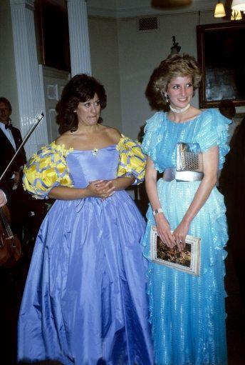 Dame Kiri Te Kanawa with Princess Diana at Banqueting House, Whitehall in 1985.