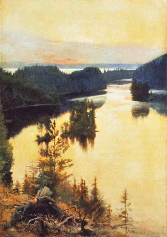 Río Kokkola y atardecer