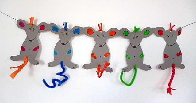 Faschingsgirlande mit Mäusen - Fasching-basteln - Meine Enkel und ich - Made with schwedesign.de
