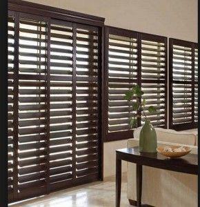 Interior Sliding Door Wood Shutters Design Window Treatments Pinterest Wood Shutters