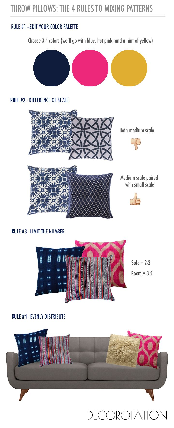 Decorative pillows with blue brown and yellow - Decorative Throw Pillows