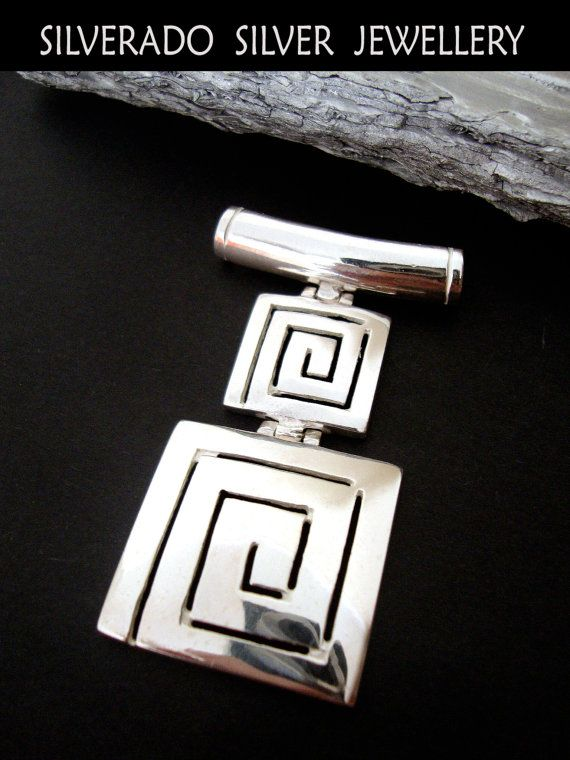 Ancient Greek Double Eternity Key Meander Square Pendant Sterling Silver 925 on Etsy, 102,00 €