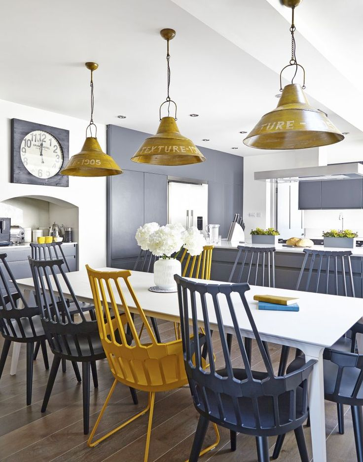 modern kitchen with yellow and grey accessories dining pinterest rh pinterest co uk kitchen table accessories ideas kitchen table top accessories
