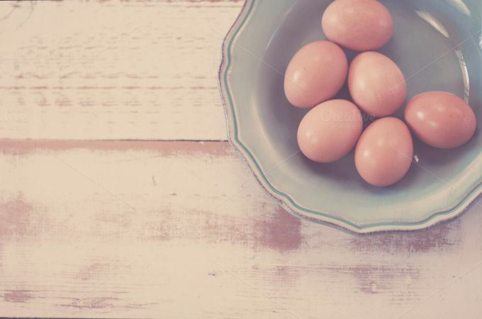 Check out Farm Fresh Eggs in Blue Bowl by Jessica Torres on Creative Market