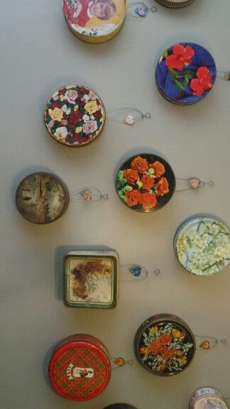 Beautiful installation at Zau Spa / Grandma's old cake tins