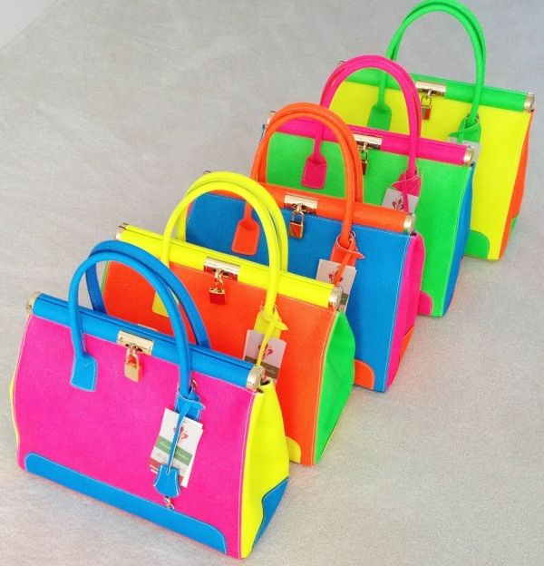 Neon Multi Colour Grain Finish Italian Leather Gladstone Style Handbag Shoulder Bag Limited Edition by Handbag Bliss! (Neon Pink Yellow Blue...