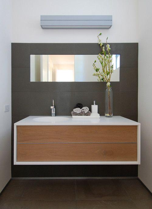 dark walls small space   DIY Floating Wooden Bathroom Vanity Against Dark Gray Wall