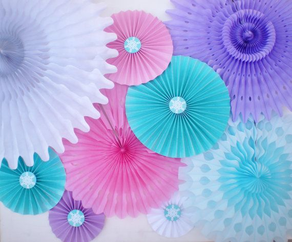 Frozen party backdrop, tissue fans and paper rosettes, pink, lavender, aqua, white, light blue with GLITTER on Etsy, $32.55 AUD