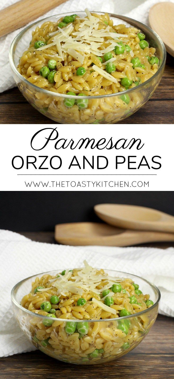 Parmesan Orzo and Peas by The Toasty Kitchen #sidedish #recipe #pasta #orzo #peas #homemade