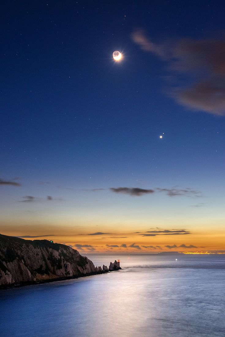 The Venus Moon over The Needles on the Isle of Wight!  #redfunnel  #isleofwight  From this Month (April 2016) you can catch a glimpse of Jupiter, being the brightest star in sky.  The best time to see this event happen is on a clear night as the sun sets around 9-10pm!  Jupiter will remain a fine evening prospect for months to come!