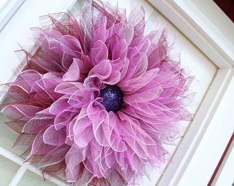 Vino rosado Deco malla flor guirnalda, guirnalda de la flor de Dalia, decoración de la pared, puerta guirnalda, guirnalda de la flor, primavera, verano, caída, Casa Decor