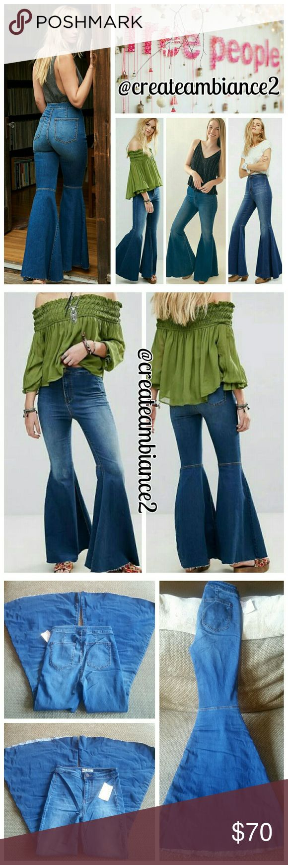 Free People Super Flare Jeans Free People Super Flare Jeans in under the sea. Here's to the perfect pair of jeans!   No trade, discount with bundle! Considering all reasonable offers made via the blue offer button only! Free People Jeans Flare & Wide Leg