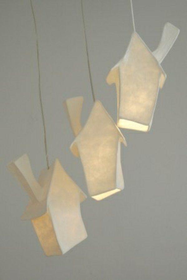 Bastelideen lampenschirm Papier hängelampen häuser